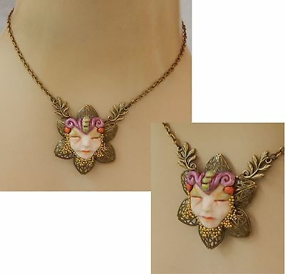 Fairy Face Pendant Necklace Jewelry Handmade Hand Sculpted NEW Fall Woodland