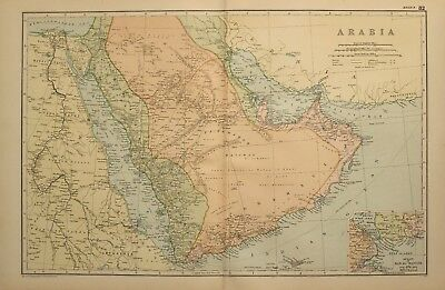 1898 Antique Map Arabia Yemen Strait Of Bab-El-Mandeb Jerusalem