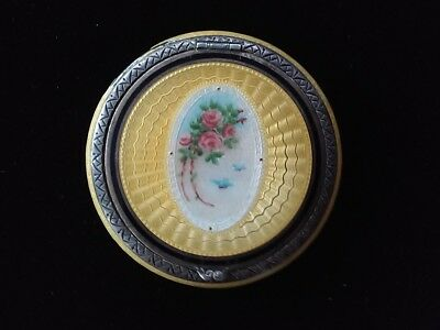 1 Vintage Sterling Silver Compact Enameled 925 Yellow & White w/ Roses Stunning