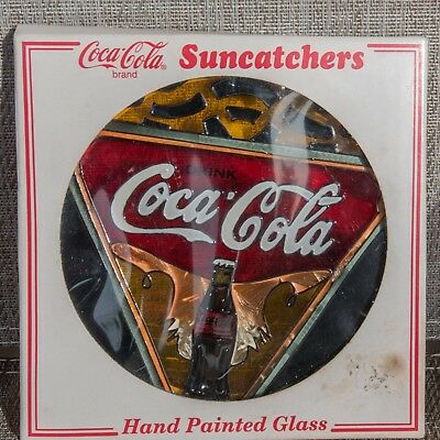 Coca Cola Stained Glass Suncatcher Hand Painted Tiffany Style Stained Glass NIB