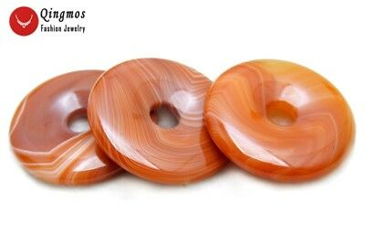 Trendy 40mm Donuts Shape Red Natural Striped Agate Pendant for Women Jewelry p98