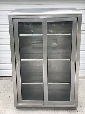 Vintage Stainless Steel Display Apothecary Medical Cabinet Gl Door