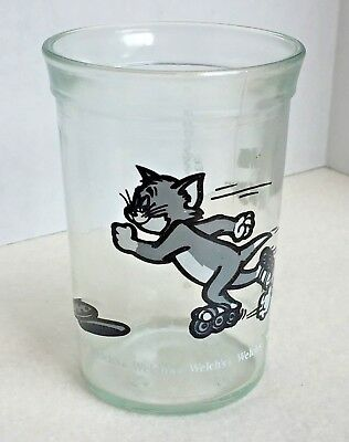 Vintage 1990 TOM & JERRY Glass Welch's Jelly Promo *Tom on Roller Skates""