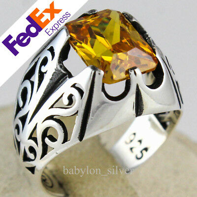 925 Sterling Silver Turkish Handmade Jewelry Citrine Men's Ring