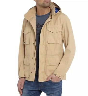 Barbour Men's Rig Casual Jacket Hooded Lightweight Cotton Tan Dark Stone XL $379