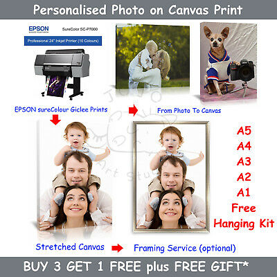 Wedding Photo Personalised Photo Giclee Canvas Print with Canvas Framing Service