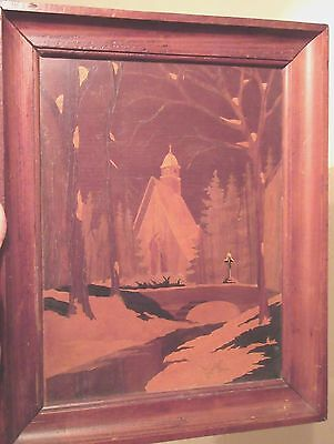 antique handmade carved marquetry wood church cemetery landscape wall art veneer