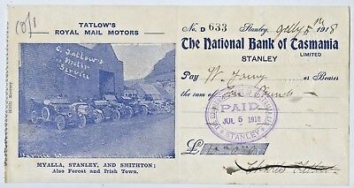 1918 Pictorial Bank Cheque National Bank Tasmania Royal Mail Motors Stanley R51