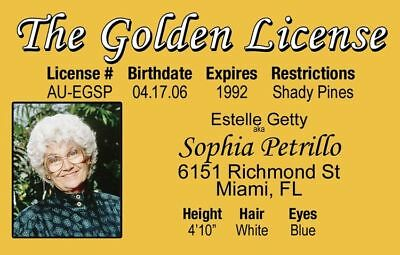 Estelle Getty of THE GOLDEN GIRLS tv show Sophia fake ID card Drivers License