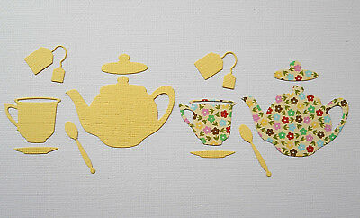 Tea Pot & Cup Paper Die Cuts x 3 Sets Scrapbooking Card Topper Embellishment