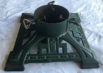 "Vintage Cast Iron Christmas Tree Stand Green 14"" Square"