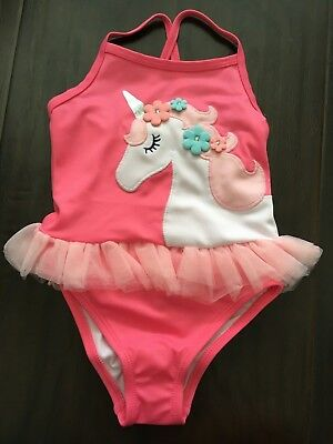 NWT Gymboree Pink Unicorn Skirted One Piece Bathing Swim Suit size 2T UPF 50+