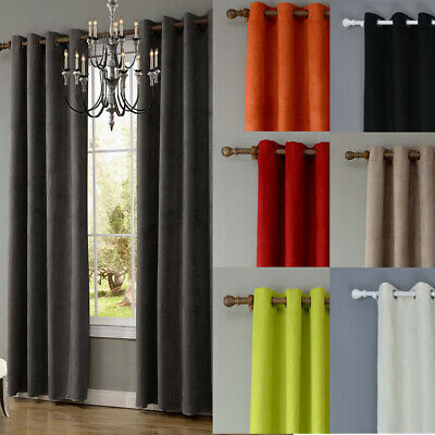 Luxury Thermal Blackout 40-70% Curtains Made Eyelet Ring Top 2Panel Suede 7Color