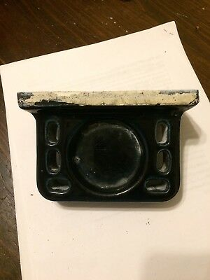 Antique Glossy Black Ceramic Toothbrush Holder 1900s