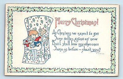 BEAUTIFUL ARTS & CRAFTS STYLE ARTIST SIGNED CHRISTMAS POSTCARD - WEH Concord, NH