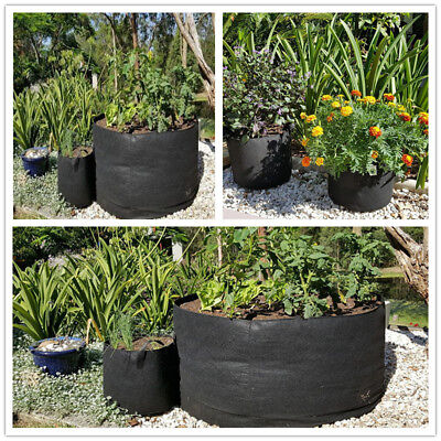 5-PACK Plant Grow Bags Fabric Root Pots with Handles: 3 5 7 10 15 20 Gallon
