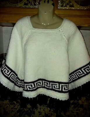 NEW! Handwoven Ivory Black Poncho Sweaters Aztec Design One Size