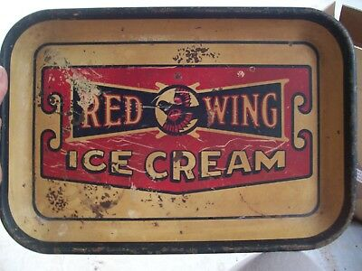 ANTIQUE VERY RARE Vintage Red Wing Ice cream tray SERVING METAL LITHO OLD BIRD