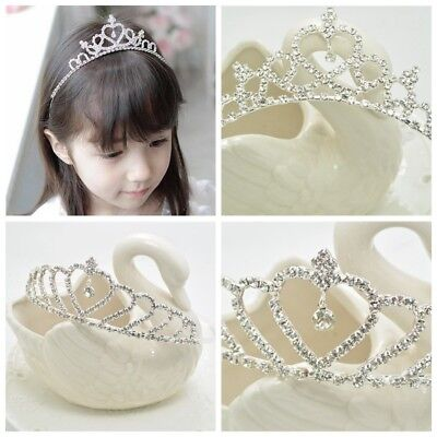 Baby Kid Girls Rhinestone Princess Crown Headband Child Silver Wedding Tiara