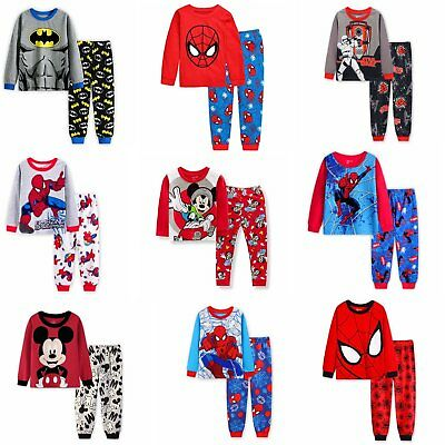 2PCS Kids Cartoon Spiderman Batman Mickey Pajamas For Boys Outfit Xmas Sleepwear