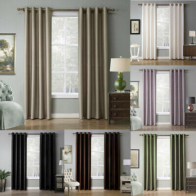 Luxury Thermal Blackout Curtains 70-90% Eyelet Ring Top 2Panel Polyester 7 Color
