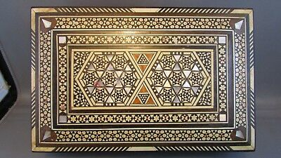 Antique AUTHENTIC Orient-Syrian Mosaic Inlay Wood Trinket Jewelry box STUNNING