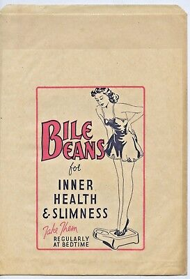 "1930's Pictorial Advertising Packaging ""bile Beans"" Bag For Inner Health  R55."