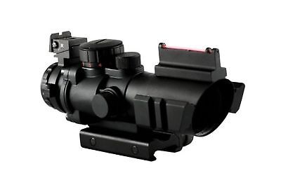 4x32 Tactical Prismatic Rifle Dual Rail Scope Mil-Dot Reticle +Fiber Optic Sight