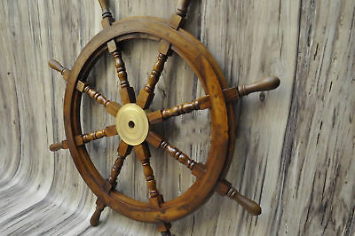 """Nautical 36""""Wooden Ship Steering Wheel Pirate Decor Wood Brass Wall Boat Captain"""