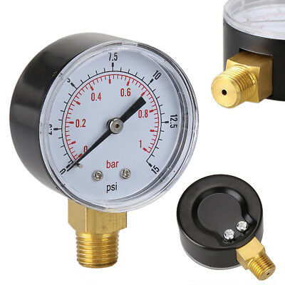 Mini Low Pressure Gauge For Fuel Air Oil Or Water 50mm 0-15 PSI 0-1 Bar 1/4 BSPT