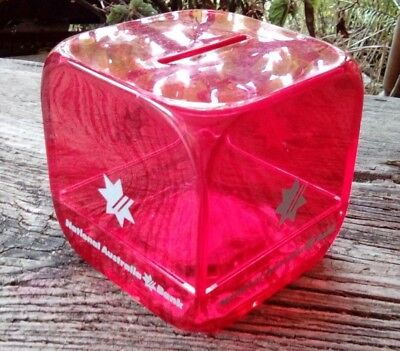 Red Cube Vintage Money Box. National Australia Bank- Nab - Collect