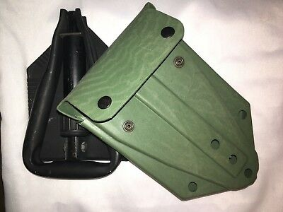 USGI Military E-Tool Entrenching Tool AND Plastic Skilcraft Carrier Pouch