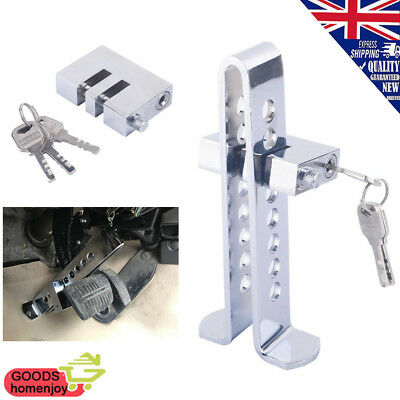 Silver Auto Car Anti-theft Clutch Brake Pedal Lock Stainless Strong Security UK