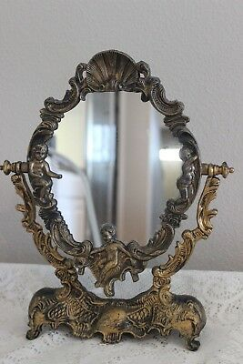 "Vintage Ornate Gold Plastic French Chic Cherub 15"" Pedestal Table Mirror"