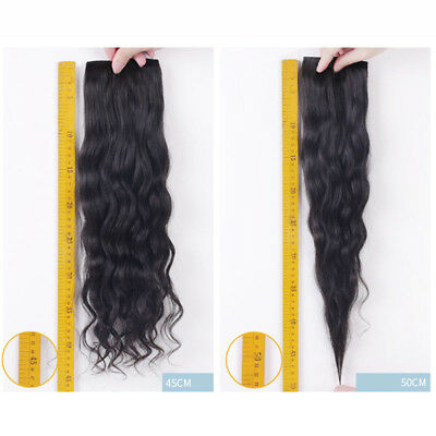1 Pcs Natural Women Hairpiece Clip In Real Curly Wavy Human Hair Extensions 30g