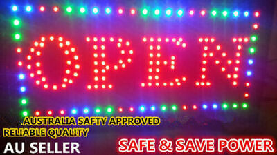 Bright S OPEN LED NEON SIGN LIGHT Plate for Business Shop Bar Restaurant 48X25cm