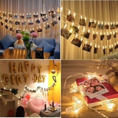 10/20 LED Photo Peg Clip  String Light Lamp Hanging Picture Wedding Party Decor