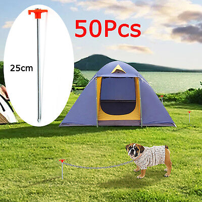 50 x METAL ROCK PEGS SCREW FOR CAMPING TENTS AWNINGS HARD GROUND 25cm Durable