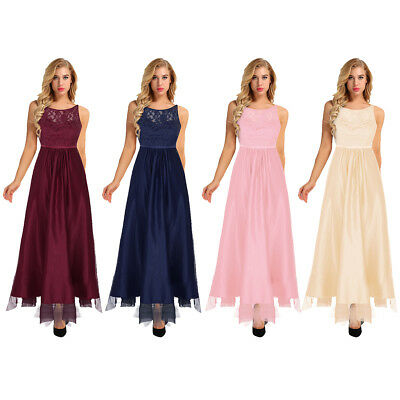 Women's Formal Long Lace Tulle Dress Prom Evening Party Cocktail Bridesmaid Gown