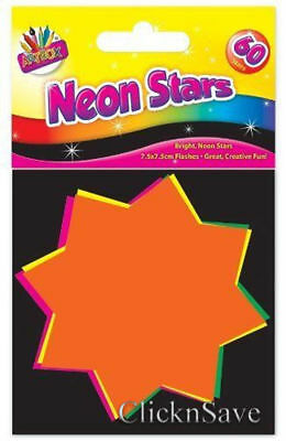 60 Assorted Neon Fluorescent Stars 7.5 x 7.5cm Display Pricing Stars