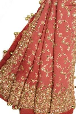 Vintage Heavy Dupatta Antique Women Bridal Long Scarf Embroidered Stole HD1107