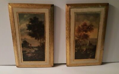 vintage pair florentine italy toleware gold white wood plaques