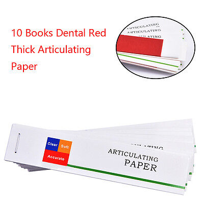 10 Books Dental Red Thick Articulating Paper Strips Dental Supplies Clinic Use