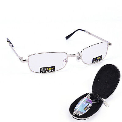 Reading Glasses Metal Snap Folding With Case +1.0 +1.5 +2.0 +2.5 +3.0 +3.5 In ..