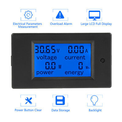 DC Battery 6.5-100V 100A LCD Voltage Current KWh Watt Power Digital Combo Meter