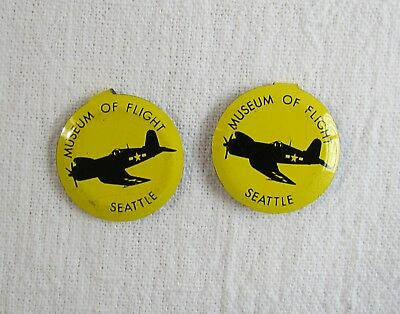 Two Vintage Seattle Museum of Flight Admission Tab Button Badge Pins Yellow