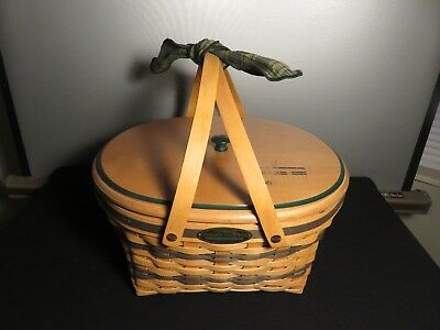 Longaberger 1996 Traditions Collection Community Basket w/LID Liners HANDLE TIE