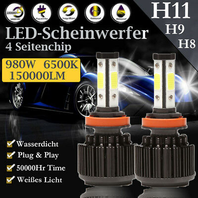 1 Paar H11 H9 H8 CREE LED Scheinwerferlampe 4 Side Chips 980 Watt 150000LM Hell