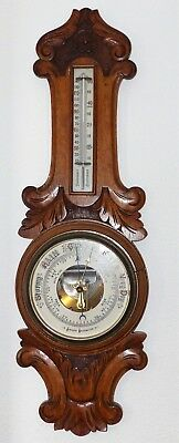 Antique oak Aneroid Barometer late Victorian / early 1900's vintage large carved