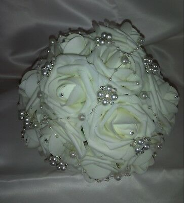 Bridal Brooch Wedding Bouquet Ivory foam rose's diamante detail. Red Champagne